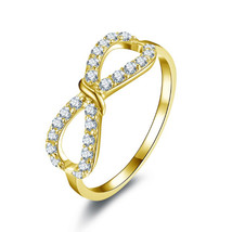 14k Yellow Gold FN 925 Sterling Silver with White CZ Infinity Design Wom... - $57.00