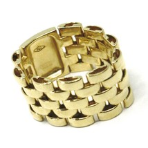 SOLID 18K YELLOW GOLD BAND CHAIN LINK CABLE MESH RING, MADE IN ITALY image 1