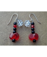 Red Butterfly and White Flower Earrings On Ster... - $15.00