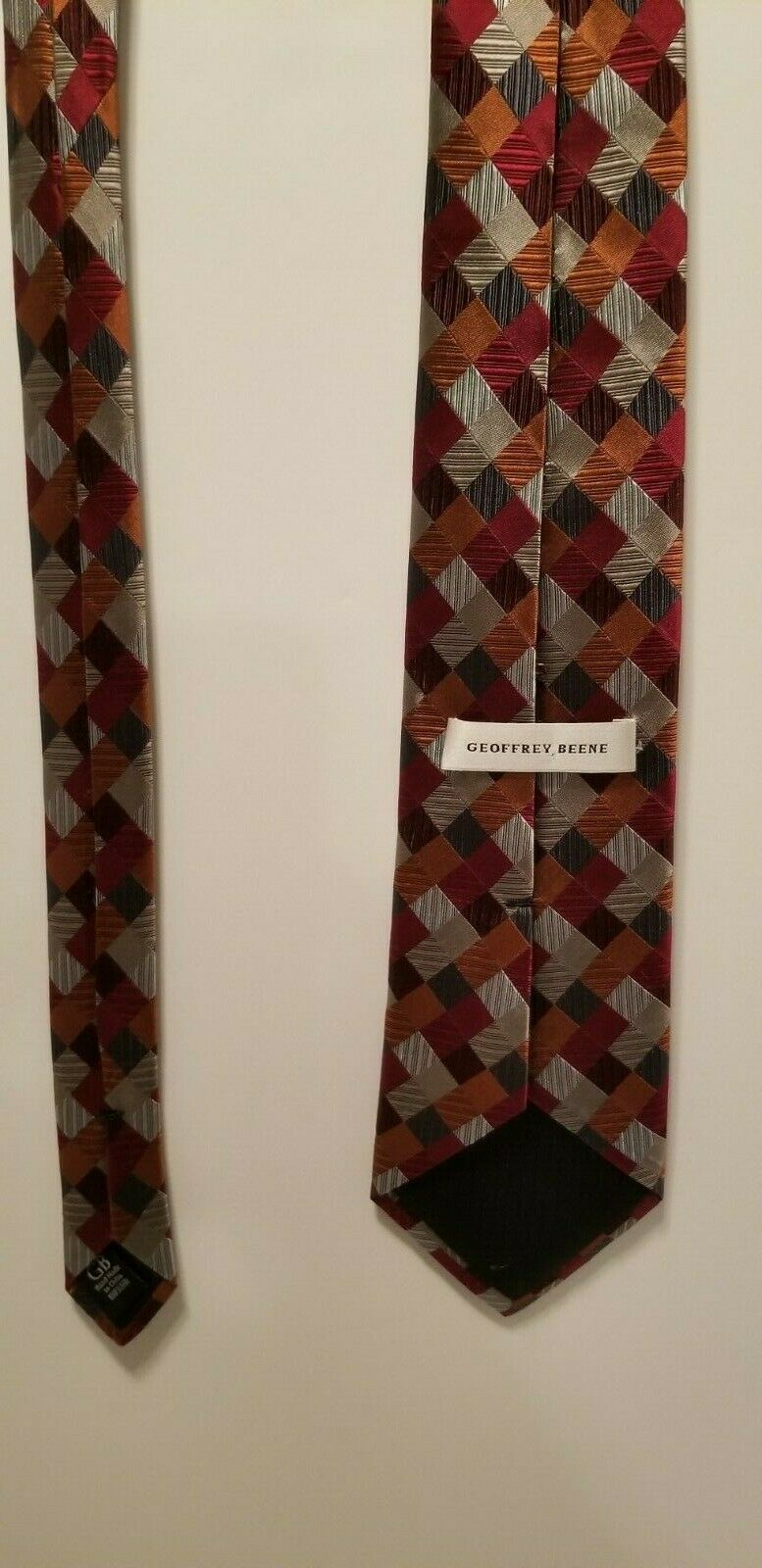 Sexy Geoffrey Beene 100% Silk Red Blue Silver Patchwork Diamonds Tie Necktie image 7