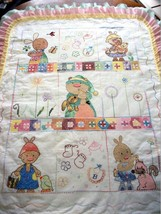 "Handcrafted Quilted XStitched ""SNUGGLE BUNNY FUN W/ COLOR Baby Quilt Cri... - $159.99"
