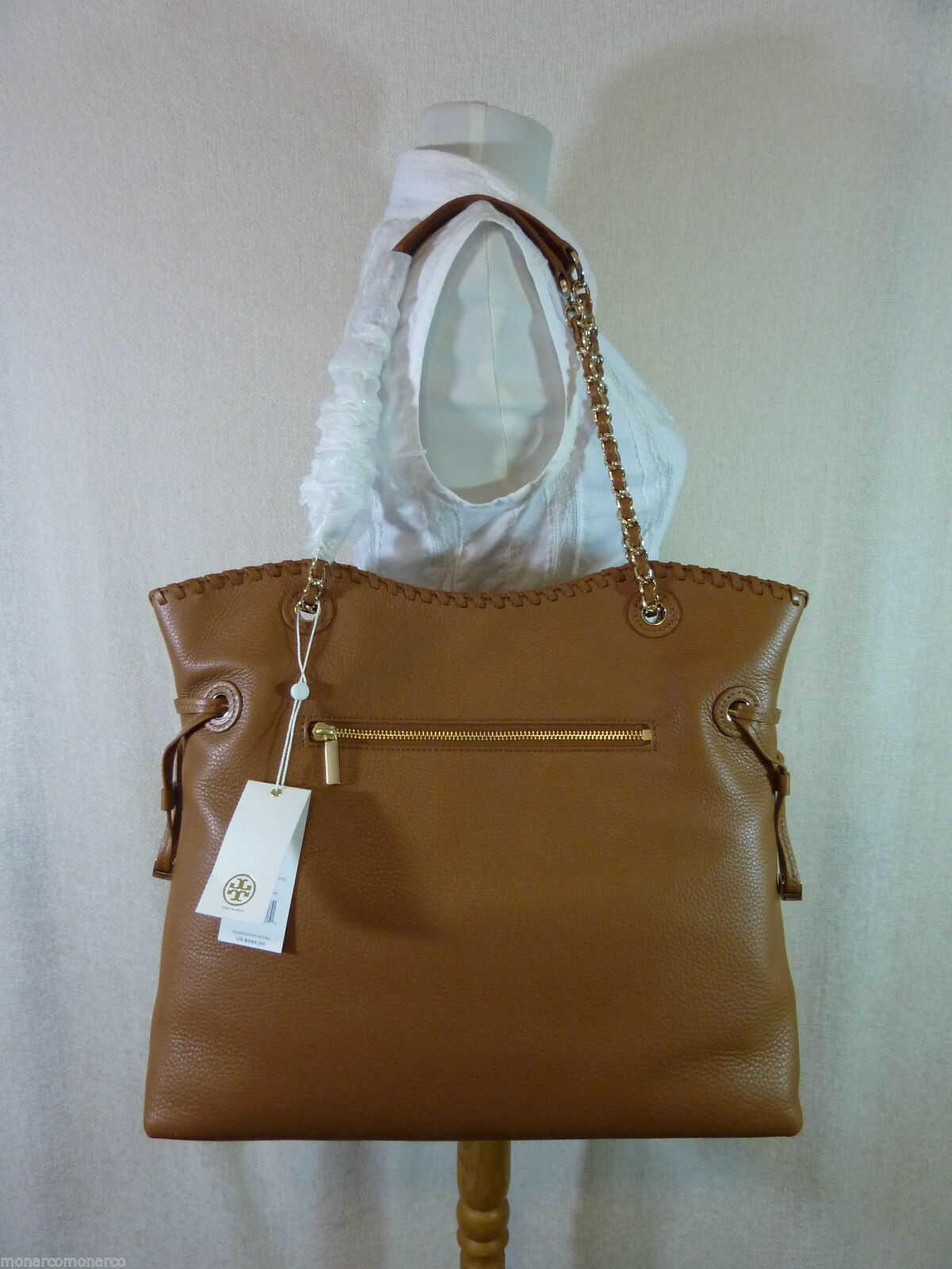 NWT Tory Burch Bark Brown Pebbled Leather Marion NS Slouchy Tote