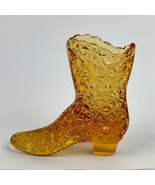 Fenton Daisy and Button Boot Amber Glass Shoe Toothpick Holder Vintage - $9.89
