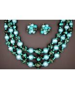 Vintage Hong Kong Blue Black Glass Bead Necklace Triple Strand Earrings ... - $29.68
