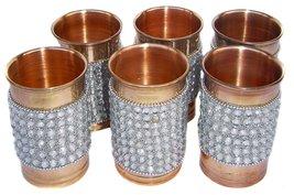 Rastogi Handicrafts Pure Copper Silver Crystal Studded Glass Set - $44.55