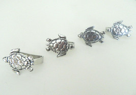 Turtle Pewter Napkin Rings Set of 4 Nautical Sea Made in Canada Gift Box - £27.75 GBP