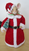 "Christmas Santa Mouse 12"" Tall Holiday Red Santa Suit Holding Tree White... - $25.73"