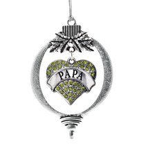 Inspired Silver Papa Green Pave Heart Holiday Ornament - $14.69