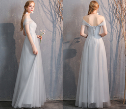 Maxi Bridesmaid Dress Tulle Bridesmaid Dresses with Sleeves Dusty Blue Burgundy image 13