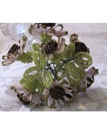 Handmade French Beaded Daisy Like Flowers Bouquet 10 Inch Tall Christma... - $20.00