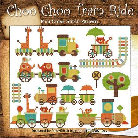 Choo Choo Train Ride mini collection cross stitch chart Pinoy Stitch