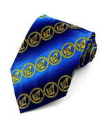 Masonic Circle Men's Necktie Freemasonry Mason Compass Square Blue Neck Tie - $15.79