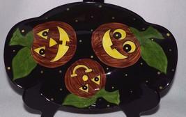 "RARE LAURIE GATES PUMPKIN & SPIDER 13"" SERVING BOWL ORANGE BLACK 1999 HA... - $49.99"