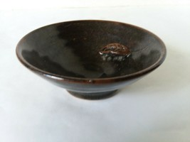 "Glazed Art Pottery Ceramic Bowl 4"" Trinket Bowl Dish Attached Leaf Accent - $15.83"
