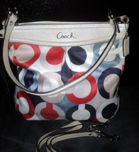 RARE Coach Optic Satin Ashley Scarf Print Signature Red White and Blue -... - $99.00