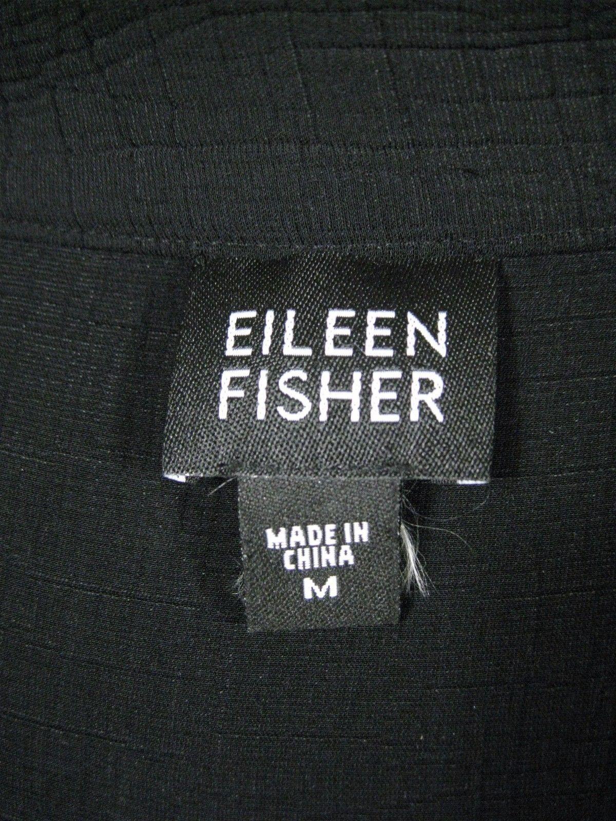 Eileen Fisher Women's Blazer Jacket Size M Hook Front Textured Rayon Black Flare