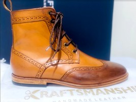 Handmade Men's Brown High Ankle Lace Up Wing Tip Leather Boot image 7