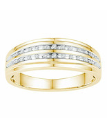 10kt Yellow Gold Mens Round Diamond Wedding Double Row Band Ring 1/10 Cttw - £290.32 GBP