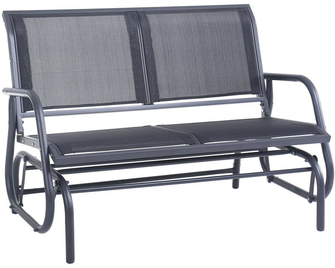 Outdoor Glider Chair Patio Bench 2 Person Swing Garden Loveseat Rocking Gray
