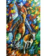 Leonid Afremov-Cowboys-Original Oil Painting/Gall Wrapped Canvas/Hand Si... - $1,325.25