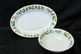 China Pearl Noel Platter and Vegetable Bowl Lot of 2 Brown Stamp - $48.99