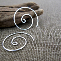 Sterling Silver Spiral Earrings. Handmade Swirl EarWires. Elegant Jewelry  - $25.00