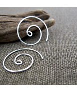 Sterling Silver Spiral Earrings. Handmade Swirl EarWires. Elegant Jewelry  - £18.90 GBP