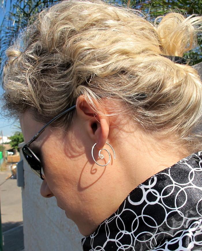 Sterling Silver Spiral Earrings. Handmade Swirl EarWires. Elegant Jewelry