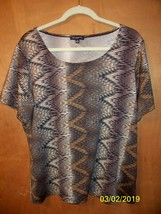 Notations - 1X -  Brown Short Sleeve Top  - $1.99