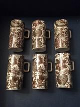 Set of 6 Tall Demitasse Cups - JAPAN - Paisley-Like Brown Pattern - $23.53