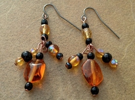 Black and Gold Crystals/Glass Earrings Hand Made In USA - $15.00