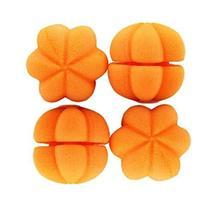 4 Pcs Pumpkin Shape Sponge DIY Hair Styling Roller Curlers Clips (Yellow,L)