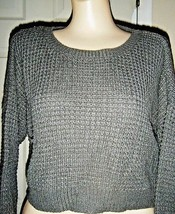 Forever 21 Gray Long Sleeve Short Sweater Size L - $17.41