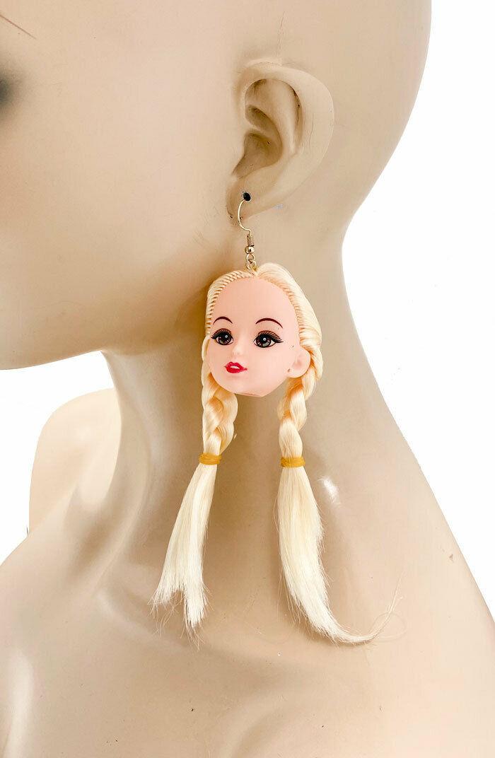 """4.5"""" long Blonde Doll Head Dangle Earrings Drag Queen Party Clubber Pierced Ear - $14.11"""