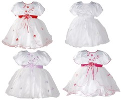Baby Girls Christening Party Dress Pink Lilac White Red 0 3 6 9 12 18 Months - $21.48