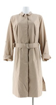 Halston Button Front Trench Coat Roll Tab Slvs Sand Dune 12 NEW A274568 - $74.23