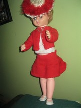 Vintage 1950's ORIGINAL OUTFIT HARD PLASTIC RED HAIR 19 IN DOLL, FLIRTY ... - $16.82
