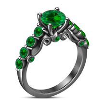 925 Sterling Silver 14k Black Gold Plated RD Cut Green Sapphire Engageme... - $85.44