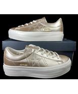 Converse One Star Platform Ox Lift Sneaker Light Gold Leather 559924C 9.... - $69.95