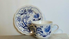 Vintage Oriental Ironstone Blue Onion  Cup and Saucer 2 Sets - $18.00