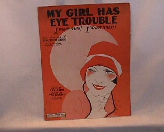 My Girl Has Eye Trouble Vintage Sheet Music