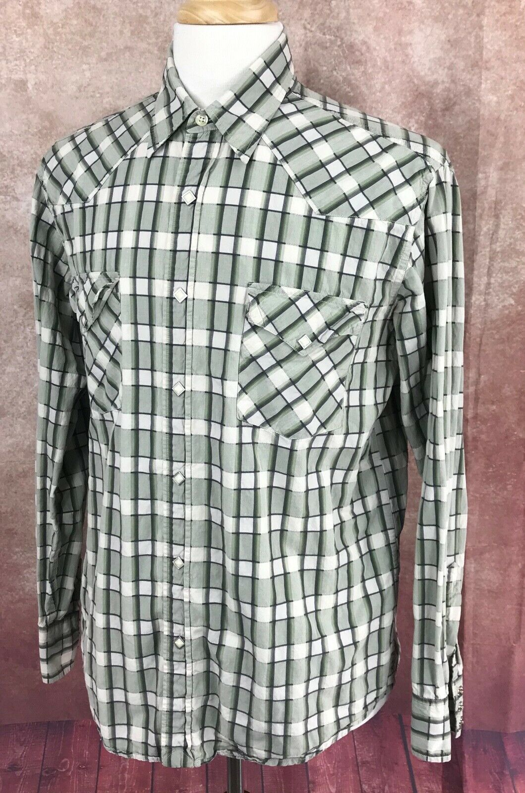 Lucky Brand Western Pearl Snap Long Sleeve 100% Cotton Green Check Shirt Men's L