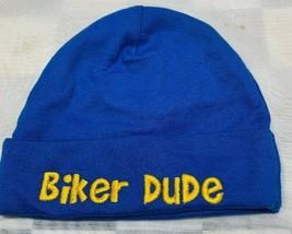 BIKER DUDE Blue Yellow Skull Cap Beanie Toddler Hat 6-9 Months Gerber - $12.86