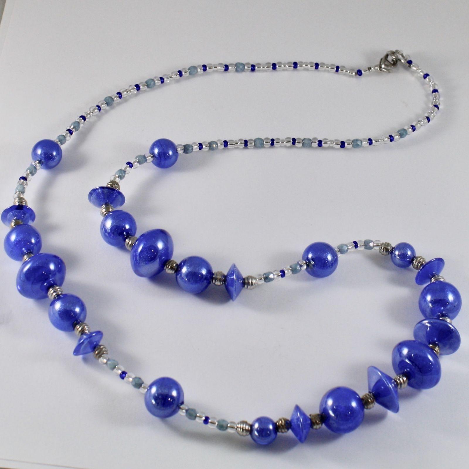 ANTICA MURRINA VENEZIA NECKLACE BLUE MURANO GLASS DISCS BALLS, 31 INCHES LONG