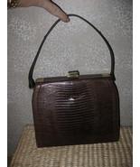 VTGE brn Croc or Alligator Leather Hand Bag Purse  - $25.17