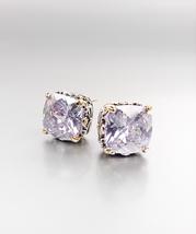 Designer PETITE Silver Gold Balinese Filigree Lavender CZ Crystal Earrings - £15.45 GBP