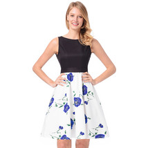 AOVEI White Floral Print Hit Color Vintage A Line Flared Pleated Swing Dress - $24.99