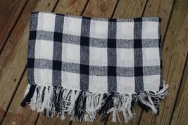Pottery Barn Navy Blue White Gingham Check Woven 50x60 Throw Blanket - $36.10