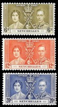 1937 Coronation Set of 3 Seychelles Postage Stamps Catalog Number 122-24 MNH