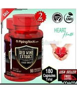 2X RED WINE Extract 1000mg Cardiovascular Heart Health Supplement 180 Ca... - $25.73